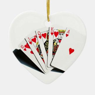 Royal Flush Hearts Ceramic Ornament