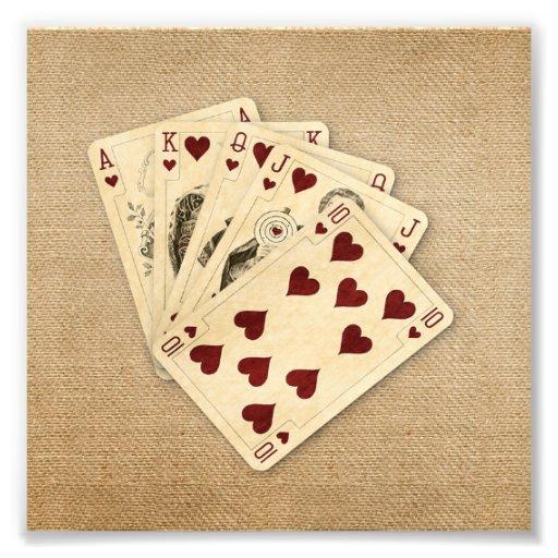 Royal Flush Hearts Vintage Burlap Background Photo Art