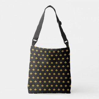 """""""Royal French Fleur de Lis"""" Black Cross-body Bag"""