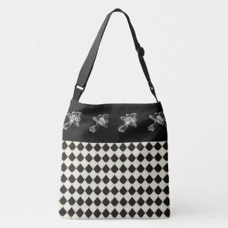 Royal-French-Harlequin_Silver-Roses _Bag _Tote-M-L Crossbody Bag