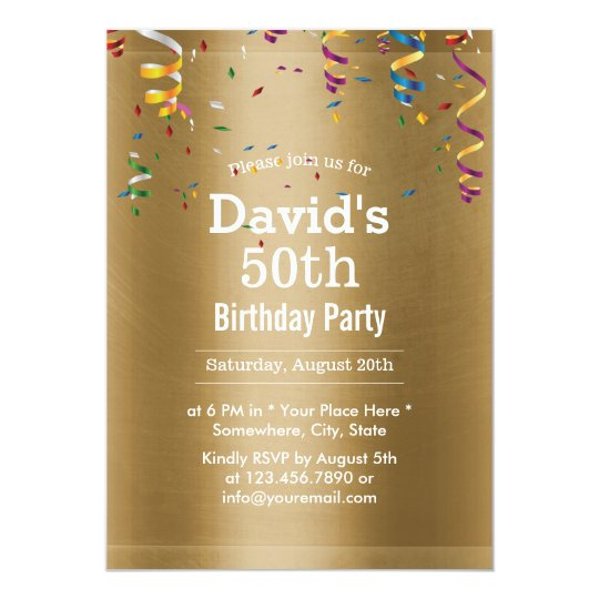 Royal Gold 50th Birthday Party Card