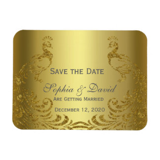 Royal Gold Abstract Peacock Wedding SAVE THE DATE Rectangular Photo Magnet