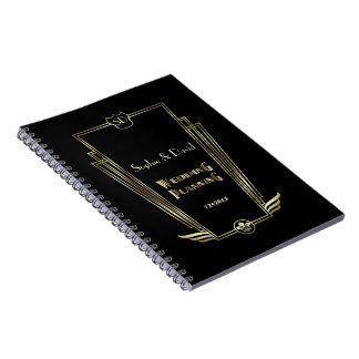 Royal Gold Art Deco Monogram Wedding Planner Notebook