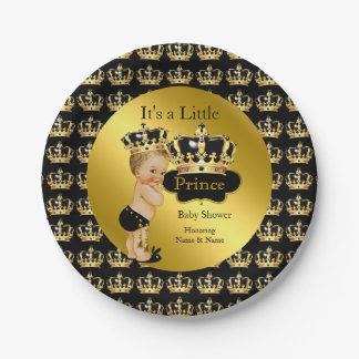 Royal Gold Black Prince Crown Baby Shower Blonde Paper Plate