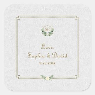 Royal Gold Crest Lush Greenery Wedding Square Sticker