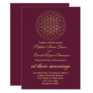 Royal Gold Flower of Life Sacred Geometry Wedding Card