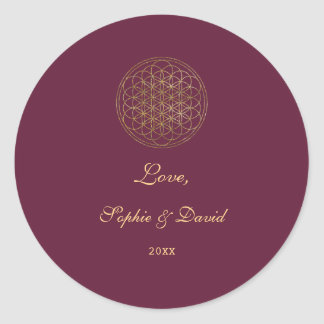 Royal Gold Flower of Life Sacred Geometry Wedding Classic Round Sticker