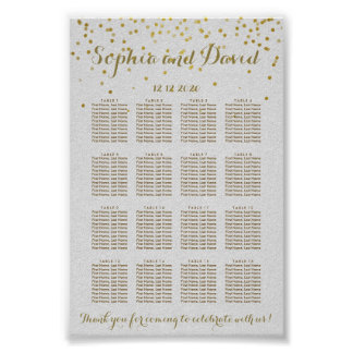 Royal Gold Foil Wedding Seating Chart Poster