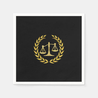 Royal Gold Laurel Wreath Law School Graduation Paper Napkins