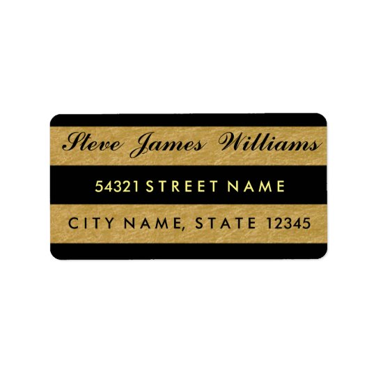 Royal Gold Leaf Black Stripes Address Labels