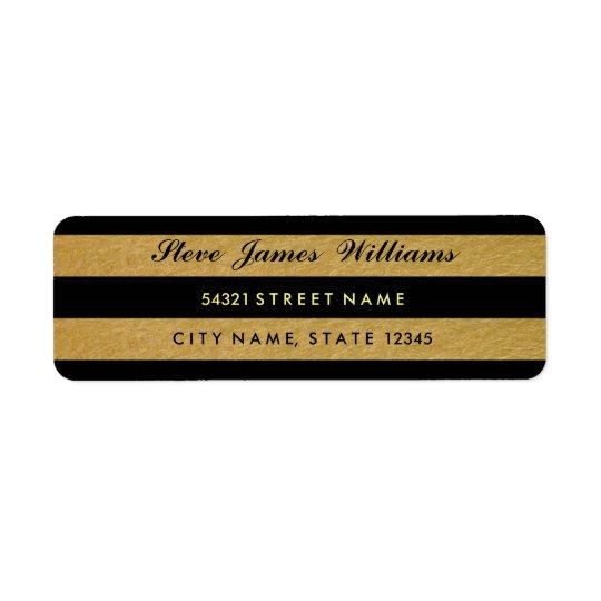 Royal Gold Leaf Black Stripes Address Labels