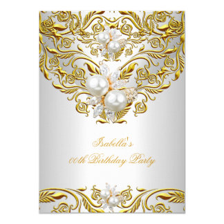 Royal Gold on White Pearl Elegant Birthday Party Card
