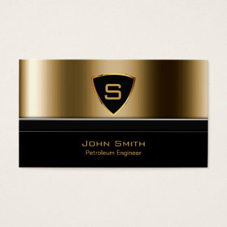 Royal Gold Shield Petroleum Engineer Business Card