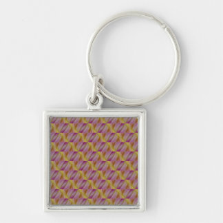 Royal Golden And Purple Abatract Silver-Colored Square Keychain