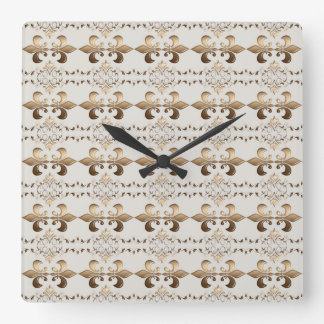 Royal golden fleur-de-lis pattern. square wall clock