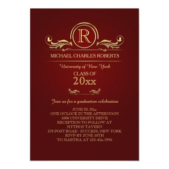 Royal Golden Monogram Graduation Invitation