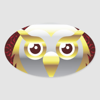 Royal Golden Owl with a Crown Vector Oval Sticker