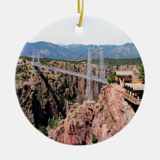 Royal Gorge Bridge,  the highest in USA Round Ceramic Ornament