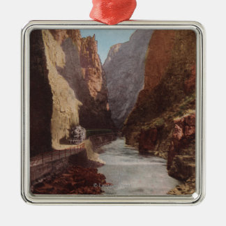 Royal Gorge, CO - View of Train , River Metal Ornament