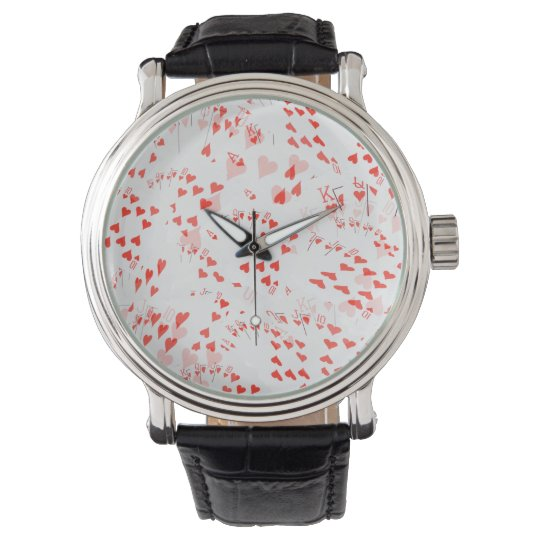 Royal Heart Flush Pattern, Mens Large Wrist Watch