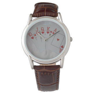 Royal_Heart_Flush_Poker_Mens_Brown_Leather_Watch Watch