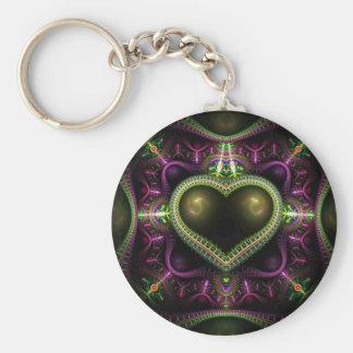 Royal Heart Fractal Basic Round Button Keychain