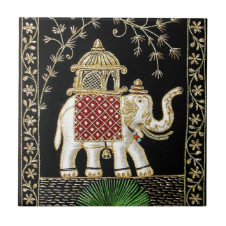 ROYAL INDIAN ELEPHANT  RIDE ZARI ART TILE
