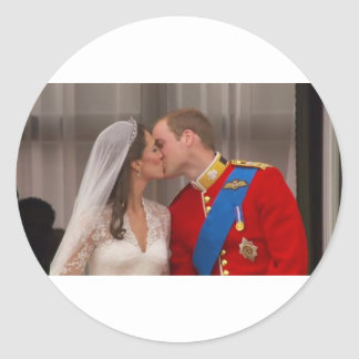 Royal Kiss Prince William and Princess Kate Round Sticker