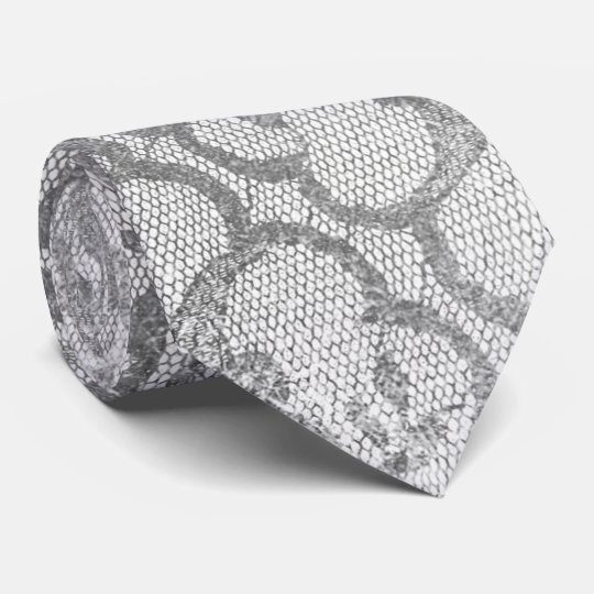 Royal Lace Black Silver Gay Metallic White Tie