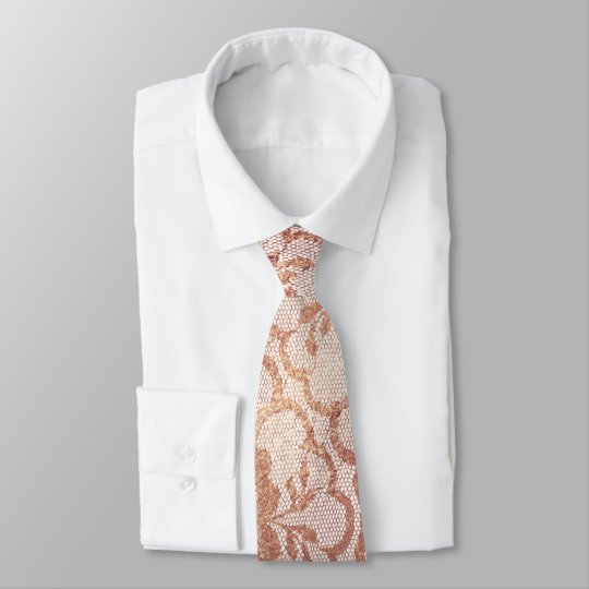 Royal Lace Blush Pink Rose Gold Metallic White Tie