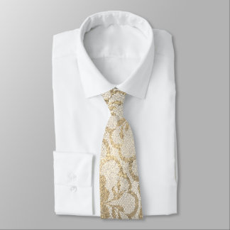 Royal Lace Foxier Gold Ivory Metallic White Glam Tie