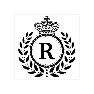 Royal Laurel Wreath Crown Monogram | Black White Rubber Stamp