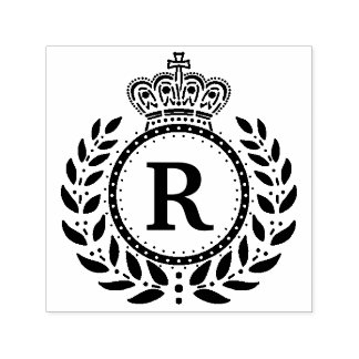 Royal Laurel Wreath Crown Monogram | Black White Self-inking Stamp