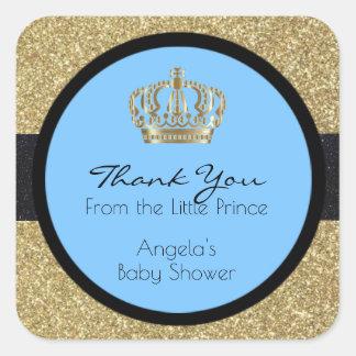 Royal Little Prince Baby Shower Blue Boy Square Sticker