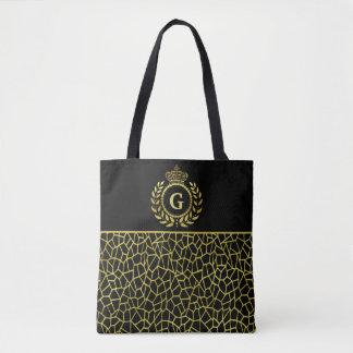Royal Monogram Gold Black Laurel Wreath Crown Deco Tote Bag