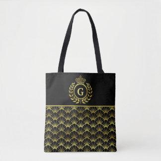 Royal Monogram Gold Laurel Wreath Crown Deco Shell Tote Bag
