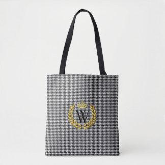Royal Monogram Houndstooth Personalize Tote Bag