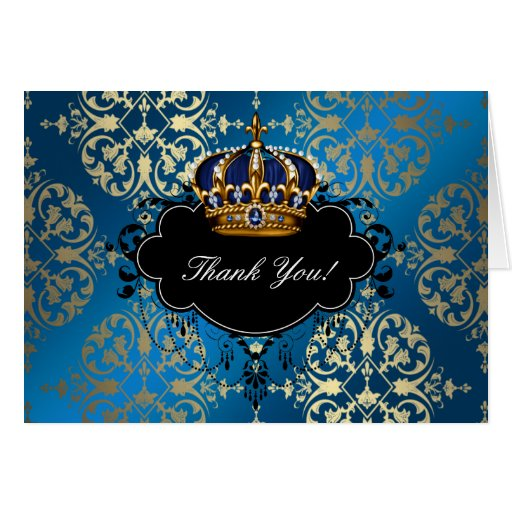 Royal Navy Blue and Gold Crown Thank You Cards