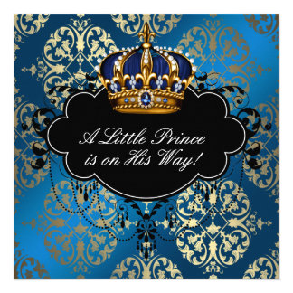 Royal Navy Blue Gold Prince Baby Boy Shower Card