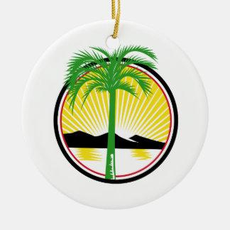 Royal Palm Beach Sea Mountain Retro Ceramic Ornament