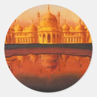 Royal Pavillion Taj Mahal art Round Stickers