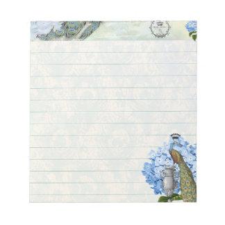 Royal peacock and hydrangea notepad