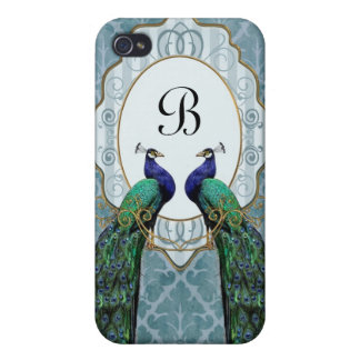Royal Peacock (Blue) Monogram iPhone 4 Case