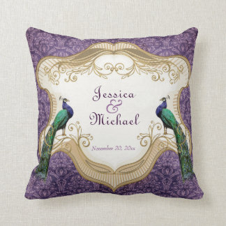 Royal Peacock (Purple) Personalized Anniversary Throw Pillow