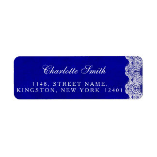 Royal Personalized Cobalt Lace Address Labels