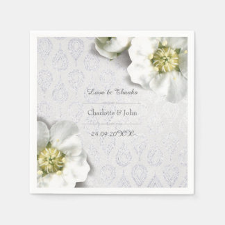 Royal Personalized Floral Silver Gray White Thank Disposable Napkin