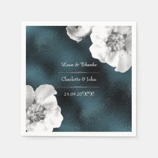 Royal Personalized Floral Teal Gray Glass Wedding Napkin