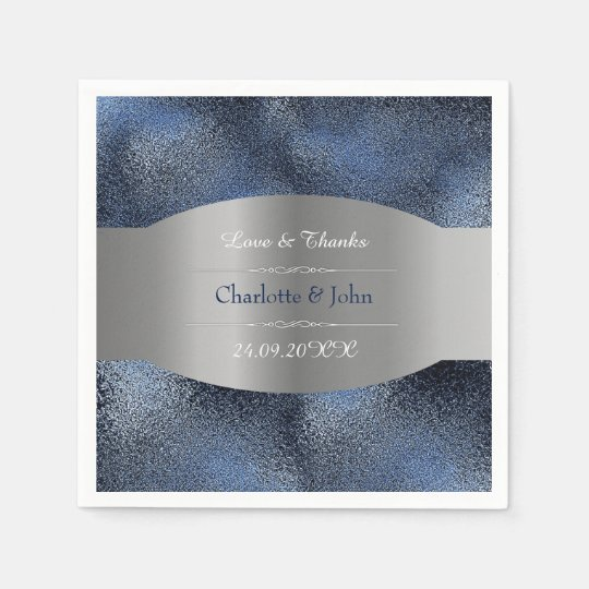 Royal Personalized Silver Navy Blue Glass Wedding Disposable Napkins