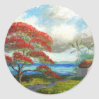 Royal Poinciana & Palm Trees Classic Round Sticker