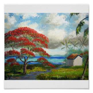 Royal Poinciana & Palm Trees Poster